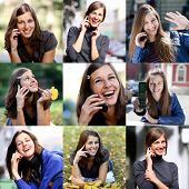 Collage, Happy beautiful girls calling by phone in autumn street