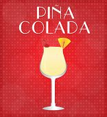 Drinks List Pina Colada With Red Background