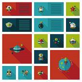 Space Ui Flat Design Background Set, Eps10