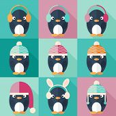Penguins Icons Set In Flat Design