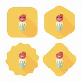 Halloween Candle Flat Icon With Long Shadow,eps10