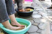 Foot Soaking In Herbal Water
