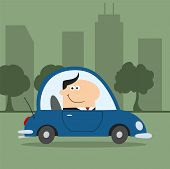 Manager Driving Car To Work In City.Modern Flat Design