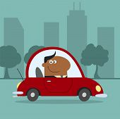 African American Manager Driving Car To Work In City.Modern Flat Design