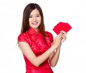 Chinese woman hold lucky pocket money