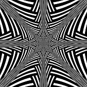 Black and White Abstract  Hypnotic Background.