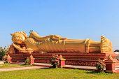 Image Of Reclining Golden Buddha.