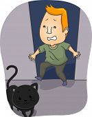 Illustration of a Man Terrified by a Black Cat Crossing His Path