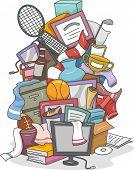 Illustration of a Huge Pile of Random Items Carelessly Thrown Together