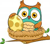 Illustration of an Owl Warming Up an Egg While Sitting on Its Nest