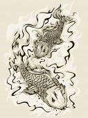 stock photo of koi  - Illustration of a Pair of Koi Fish Swimming About - JPG