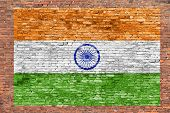 Flag Of India Painted Over Brick Wall
