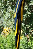 picture of garden sculpture  - Glass sculptures in a lush public garden - JPG