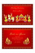 picture of dhol  - vector illustration of Indian wedding invitation card - JPG