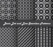 Basic Dot And Line Seamless Patterns