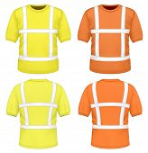 Men's yellow and orange reflective t-shirt (front and back views). Photo-realistic vector illustration.