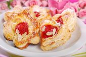 Heart And Flower Shaped Puff Pastry Cookies For Valentines