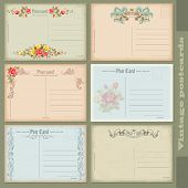Set of antique postcards. Six reverse side vintage designs.