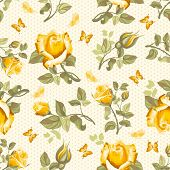 Luxurious retro floral seamless pattern - roses. Vector illustration.