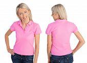 Woman wearing pink polo shirt