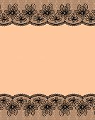 Beige Background With Two Black Lacy Flower Borders.