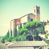 Basilica Cateriniana San Domenico in Siena, Italy. Instagram style filtred image