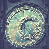 Old astronomical clock (The Horologe)  in Prague, Czech Republic Instagram style filtred image
