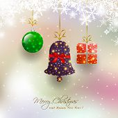 picture of christmas bells  - Christmas Card With Hanging Bauble - JPG