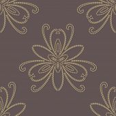 Floral Golden Seamless Vector Pattern. Orient Abstract Background