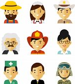 People occupation avatar set in flat style