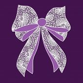 Decorative Lacy Bow On Purple Background