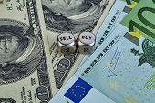 Usd Eur Banknotes, Dices Cubes. Selecnive Focus