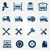 Auto service and repair flat icon set
