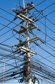 Electric Pole With Wires Tangle