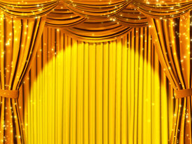 image of curtains stage  - Theatrical curtain of yellow color - JPG