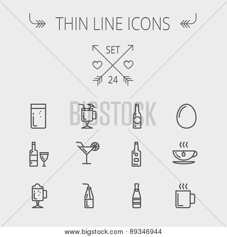 Food and drink thin line icon set for web and mobile. Set includes-soda, wine, whisky, coffee, hot c