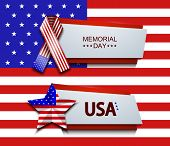 pic of memorial  - Vector modern memorial day banners on usa flag background - JPG