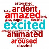 picture of arousal  - Excited word cloud on a white background - JPG