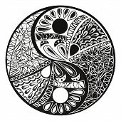 pic of yang  - Yin yang symbol asian decoration element Pattern on white Background - JPG