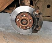 picture of friction  - The disk brake mechanism on the repaired car - JPG