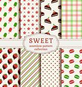 stock photo of ice-cake  - Set of sweet patterns - JPG