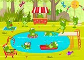 stock photo of cute frog  - Cute frogs are having fun at the pool - JPG