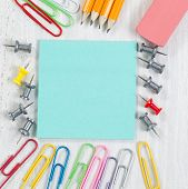 stock photo of follow-up  - Close up image of school supplies consisting of the following - JPG