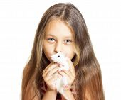 stock photo of rats  - kid holding a pet rat on a white background - JPG