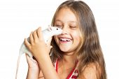 pic of rats  - laughing little girl holding a pet rat - JPG