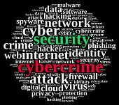 foto of cybercrime  - Word cloud illustration which deals with cybercrime - JPG