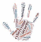 image of cybercrime  - Word cloud illustration which deals with cybercrime - JPG