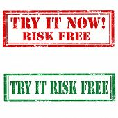image of risk  - Set of grunge rubber stamps with text Try It Now - JPG