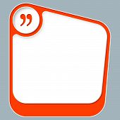 stock photo of quotation mark  - Red box for your text with white frame and quotation mark - JPG