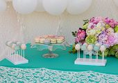 stock photo of candy  - Cute candy bar with various candies and cakes - JPG